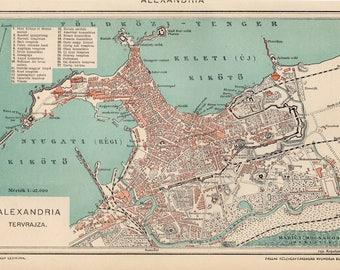 Antique city map of Alexandria, Egypt from 1893