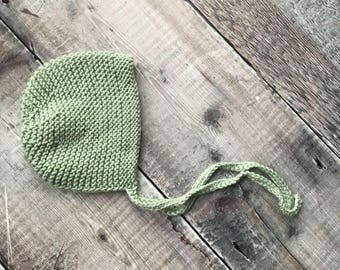 Classic baby bonnet - Spring bonnet - handmade knitted hat - vintage style bonnet - newborn photo prop - baby shower gift - blues and greens