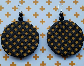 Mustard Grid Faux Leather Circle Earrings