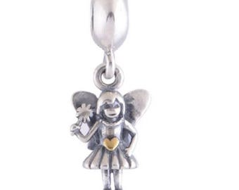 Fairy Angel With Wings Dangle Charm, 925 Sterling Silver & 14K Gold Charm fit all pandora Bracelets