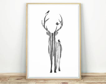 Deer Wall Art - Printable Poster, Deer Print Decor, Modern Wall Art, Silhouette Wall Art, Animal Print, Black White Print, Deer Poster Print