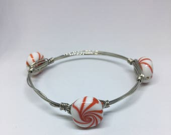 Red and White peppermint Bracelet