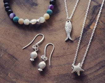 Under the Sea Jewelry set | bracelet | sterling silver earrings | your choice of starfish or fish necklace