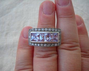 1970 Silver Ring  - Beautiful ring with stones and rhinestones