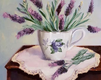 "Daily Painting - ""Lavender Tea""   Netty Kozlovsky, Original Oil Painting,"