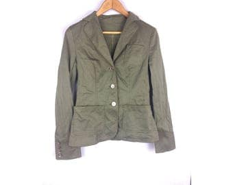DA TRUSSARDI Green Army Jacket vintage style Long Sleeve Button up