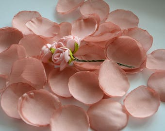 100 Peach Rose Petals/ Shabby Chic/ Table Scatter/ Pink Toss Petals/ Aisle