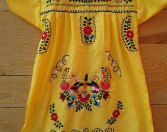 Traditional Mexican hand embroidered dress 6 years