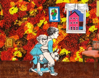 Brother and Sister Playing Together - Handmade Paper Collage Art Print