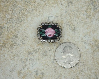 Vintage Handpainted Enamel Rose and Rhinestone Brooch/Pin, Vintage 1960's Rose Brooch, Vintage Enamel Pin, Vintage Rhinrestone Brooch pin