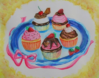 Cupcakes watercolor painting, women birthday gift, kitchen decor 11x11 , dessert art , cute, kitchen decor, gift, food art, small poster,