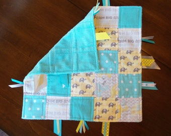 Turquoise, Yellow & Gray Elephant Baby Tag Blanket