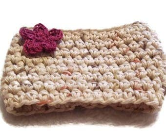 Flower Cream Coffee Cup Cozy Crocheted and Ready to ship