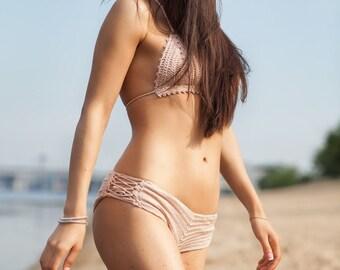 women crochet swimsuit, bathing suit women, summer bikini sexy, swimwear Brazilian, beige, two pieces, Triangle Bikini Top, crochet lingerie