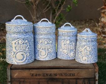 Vintage Canister Set - Canister Set - Flour Canister - Sugar Canister - Coffee Canister - Tea Canister - Treasure Craft Canister - Cursive