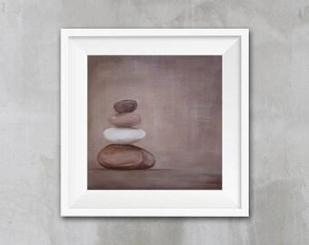 ZEN Art, Zen Wall Art, Minimal Fine Art Print, Spa Decor, Relax Art Print, Home Decor, Brown Stones Art Print, Minimal Art, APIRO PRINTS,