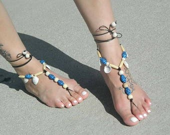 Black leather Beaded Barefoot Sandals