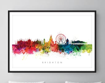 Brighton Skyline, Brighton England Cityscape Art Print, Wall Art, Watercolor, Watercolour Art Decor