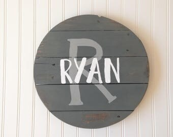 Custom Circle Wood Name Sign/Gray and White Nursery Decor/Reclaimed Wood/Rustic Distressed/Nursery Name Sign/Neutral Decor/Baby Shower Gift