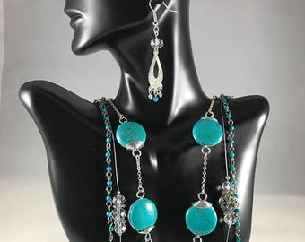 On Sale Three Strand Necklace w/Turquoise and Wire-Wrapped Beads
