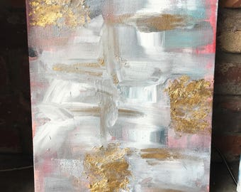 Abstract painting with gold leafing pink and blue
