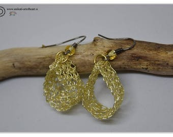 Crocheted Wire Earrings, Wire Jewelry, Wire Earrings, Gold Earrings, Dangle Earrings, Crochet Jewelry, Gift for Women, Valentines Day Gift