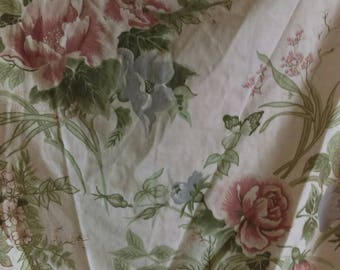 "Vintage chintz floral flower rose curtains 74 drop x 60"" wide French Country farmhouse"