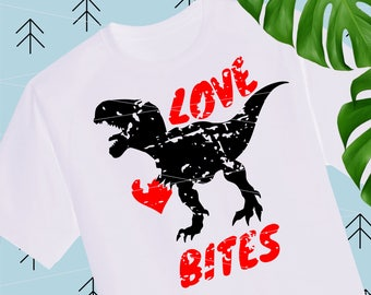 Love Bites Distressed svg Boy Valentines SVG Dinosaur svg Quotes Svg Valentine Shirts for Boys girls svg files for Cricut Silhouette lfvs