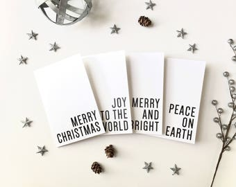 Christmas Cards, Christmas Card Set, Holiday Cards, Greeting Cards, Printed Cards, Minimalist, Black and White, Set of 4, PHYSICAL PRINT