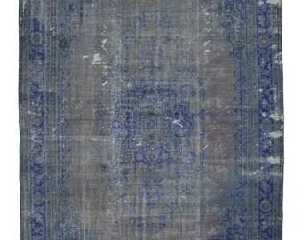 Handmade Old Decorative Living Room Rug - Vintage Overdyed Turkish Rug
