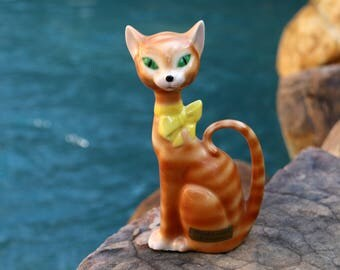 Rare 1950's Style Porcelain Cat - Hagy Ceramic Studio - Striped Ginger Tabby Cat - Cat Lover Gift - Collectible Cat - Live in Moment Vintage