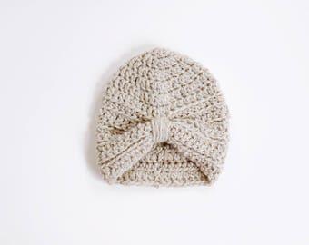 LITTLE ALLEGRA TURBAN | modern chunky crochet beanie for newborns, baby, toddlers and children