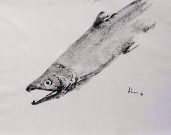 "Original Gyotaku Salmon Print 19"" x 26""  ET14"