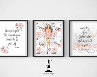 Fashion Model Quotes, Coco Chanel Fashion Quote Printable, Fashion Wall Art, Coco Chanel Wall Art, Fashion Week Wall Art, Fashion Decor