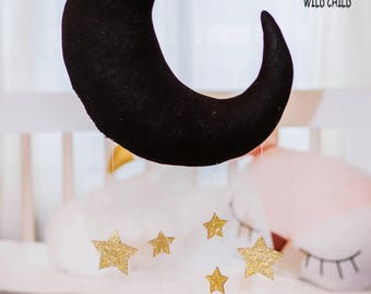 Black ,moon and stars, mobile, wall décor, nursery, kids room, baby crib mobile, newborn gift, baby shower gift, gold stars, crib decoration
