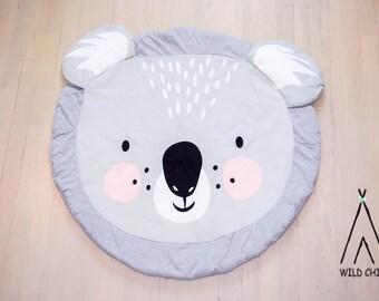 Koala design, round, play mat, nursery décor, crawling mat, baby shower gift, tummy time ,activity mat