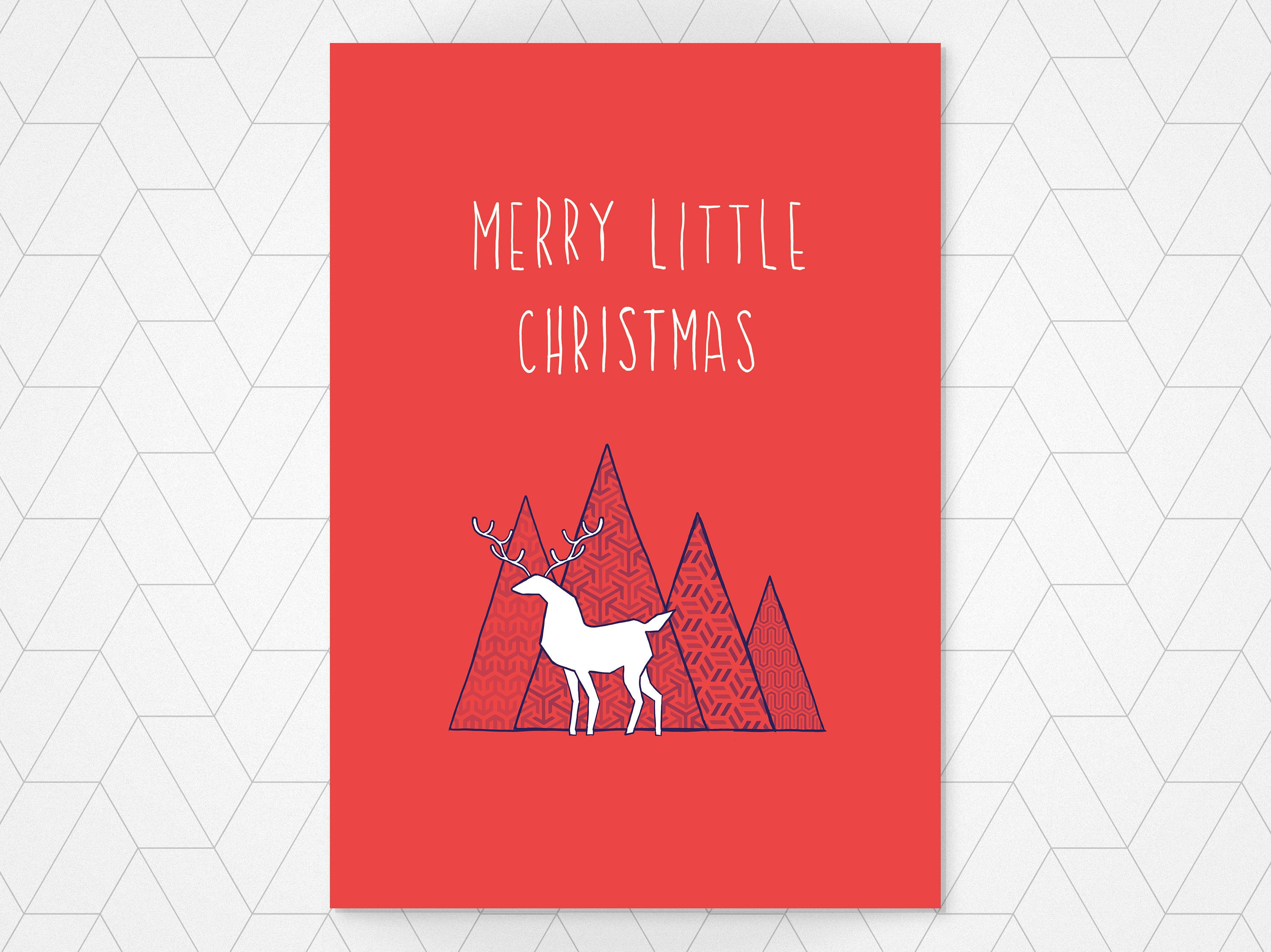 Merry little christmas unique christmas card red reindeer merry little christmas unique christmas card red reindeer card sweet christmas card kristyandbryce Gallery
