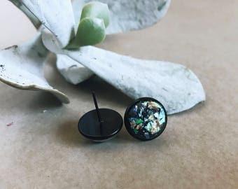 Earrings   Stud Earrings   Black Earrings   Black Stud Earrings   Gifts for Her   Glitter Earrings