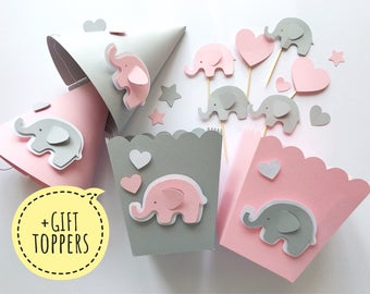 Pink Gray Elephant Baby Shower Party Kit 1 st Girl Birthday Table Decorations Party Decor Favor Paper Box Hats Its a Girl +GIFT