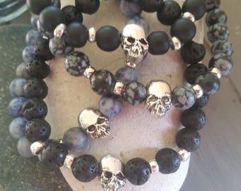 Skull Charm and Natural Stone Bead bracelets