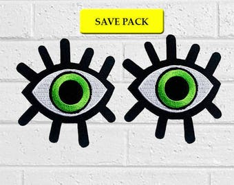 Green Devil Eye Patch - Art Patch -Iron On Patches - Save Pack - Value Pack