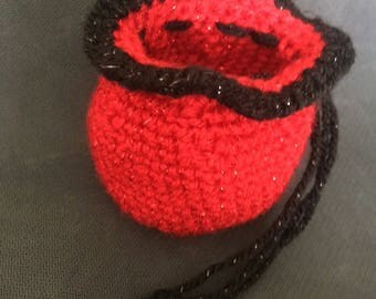 Red and Black Crochet Drawstring Bag