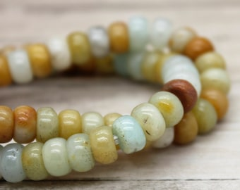 """Yellow Agate Rondelle Gemstone Beads 8"""" strand (5mm x 8mm beads, 2.5 mm hole)"""