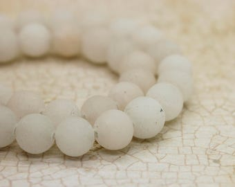 White Agate Matte Round Gemstone Beads