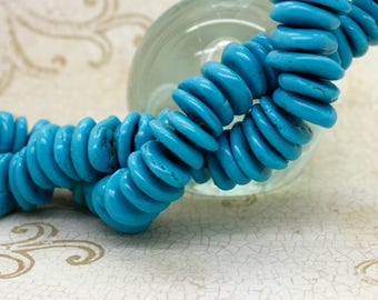 Howlite Beads, Rough Flat Nugget Chip Blue Turquoise Howlite Beads (Assorted Size)