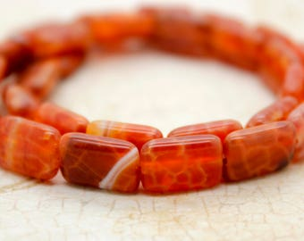 Red Fire Agate Flat Rectangle Gemstone Beads