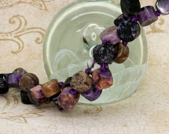 Charoite Cylinder Round Tube Smooth Gemstone Beads