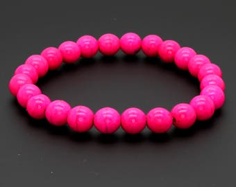 "Smooth Dye Pink Coral Beads Size 8mm. Length 8"" Semi-Precious Gemstone Elastic Cord Bracelet Accessories"