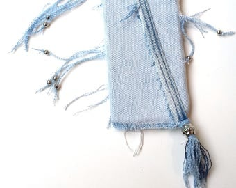 Cell Phone Cover Faded Torn Denim Jean - Cell Phone Cover BoHo Silver Beads - iPhone 6S, iPhone 6 Plus, Cel Cover Jeans - Gift Idea for Her