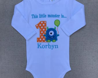 Monster Birthday Bodysuit, Monster Birthday Shirt, Little Monster Birthday Bodysuit